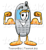 Illustration of a Cartoon Cellphone Mascot Flexing His Arm Muscles by Toons4Biz