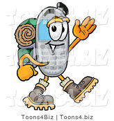 Illustration of a Cartoon Cellphone Mascot Hiking and Carrying a Backpack by Toons4Biz