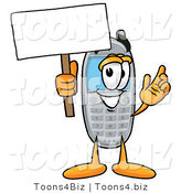 Illustration of a Cartoon Cellphone Mascot Holding a Blank Sign by Toons4Biz