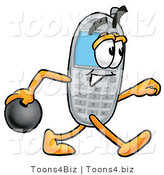 Illustration of a Cartoon Cellphone Mascot Holding a Bowling Ball by Toons4Biz