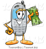 Illustration of a Cartoon Cellphone Mascot Holding a Dollar Bill by Toons4Biz