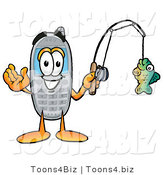 Illustration of a Cartoon Cellphone Mascot Holding a Fish on a Fishing Pole by Toons4Biz