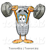 Illustration of a Cartoon Cellphone Mascot Holding a Heavy Barbell Above His Head by Toons4Biz
