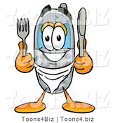 Illustration of a Cartoon Cellphone Mascot Holding a Knife and Fork by Toons4Biz