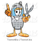 Illustration of a Cartoon Cellphone Mascot Holding a Pair of Scissors by Toons4Biz