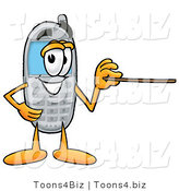 Illustration of a Cartoon Cellphone Mascot Holding a Pointer Stick by Toons4Biz