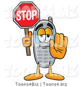 Illustration of a Cartoon Cellphone Mascot Holding a Stop Sign by Toons4Biz