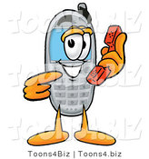 Illustration of a Cartoon Cellphone Mascot Holding a Telephone by Toons4Biz