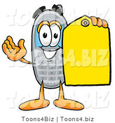 Illustration of a Cartoon Cellphone Mascot Holding a Yellow Sales Price Tag by Toons4Biz
