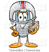 Illustration of a Cartoon Cellphone Mascot in a Helmet, Holding a Football by Toons4Biz