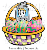 Illustration of a Cartoon Cellphone Mascot in an Easter Basket Full of Decorated Easter Eggs by Toons4Biz