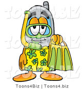 Illustration of a Cartoon Cellphone Mascot in Green and Yellow Snorkel Gear by Toons4Biz
