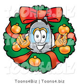 Illustration of a Cartoon Cellphone Mascot in the Center of a Christmas Wreath by Toons4Biz