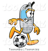 Illustration of a Cartoon Cellphone Mascot Kicking a Soccer Ball by Toons4Biz