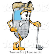 Illustration of a Cartoon Cellphone Mascot Leaning on a Golf Club While Golfing by Toons4Biz