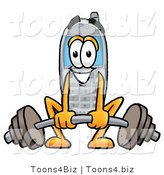 Illustration of a Cartoon Cellphone Mascot Lifting a Heavy Barbell by Toons4Biz