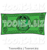 Illustration of a Cartoon Cellphone Mascot on a Dollar Bill by Toons4Biz