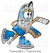 Illustration of a Cartoon Cellphone Mascot Playing Ice Hockey by Toons4Biz