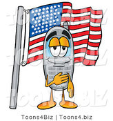 Illustration of a Cartoon Cellphone Mascot Pledging Allegiance to an American Flag by Toons4Biz