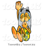 Illustration of a Cartoon Cellphone Mascot Plugging His Nose While Jumping into Water by Toons4Biz