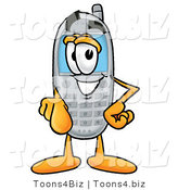 Illustration of a Cartoon Cellphone Mascot Pointing at the Viewer by Toons4Biz