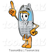 Illustration of a Cartoon Cellphone Mascot Pointing Upwards by Toons4Biz