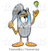 Illustration of a Cartoon Cellphone Mascot Preparing to Hit a Tennis Ball by Toons4Biz
