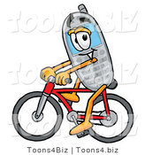 Illustration of a Cartoon Cellphone Mascot Riding a Bicycle by Toons4Biz