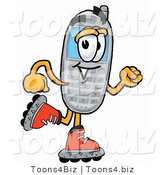 Illustration of a Cartoon Cellphone Mascot Roller Blading on Inline Skates by Toons4Biz