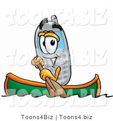 Illustration of a Cartoon Cellphone Mascot Rowing a Boat by Toons4Biz