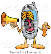 Illustration of a Cartoon Cellphone Mascot Screaming into a Megaphone by Toons4Biz