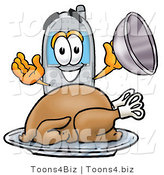 Illustration of a Cartoon Cellphone Mascot Serving a Thanksgiving Turkey on a Platter by Toons4Biz