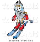 Illustration of a Cartoon Cellphone Mascot Skiing Downhill by Toons4Biz