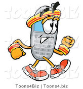 Illustration of a Cartoon Cellphone Mascot Speed Walking or Jogging by Toons4Biz