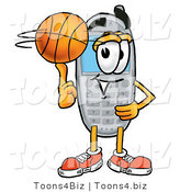Illustration of a Cartoon Cellphone Mascot Spinning a Basketball on His Finger by Toons4Biz