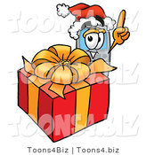 Illustration of a Cartoon Cellphone Mascot Standing by a Christmas Present by Toons4Biz