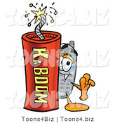 Illustration of a Cartoon Cellphone Mascot Standing with a Lit Stick of Dynamite by Toons4Biz