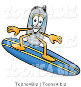 Illustration of a Cartoon Cellphone Mascot Surfing on a Blue and Yellow Surfboard by Toons4Biz
