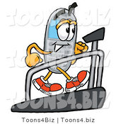 Illustration of a Cartoon Cellphone Mascot Walking on a Treadmill in a Fitness Gym by Toons4Biz