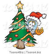 Illustration of a Cartoon Cellphone Mascot Waving and Standing by a Decorated Christmas Tree by Toons4Biz