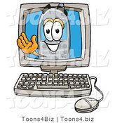Illustration of a Cartoon Cellphone Mascot Waving from Inside a Computer Screen by Toons4Biz