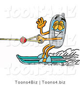 Illustration of a Cartoon Cellphone Mascot Waving While Water Skiing by Toons4Biz