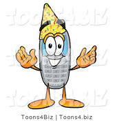 Illustration of a Cartoon Cellphone Mascot Wearing a Birthday Party Hat by Toons4Biz