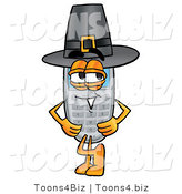 Illustration of a Cartoon Cellphone Mascot Wearing a Pilgrim Hat on Thanksgiving by Toons4Biz