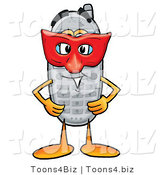Illustration of a Cartoon Cellphone Mascot Wearing a Red Mask over His Face by Toons4Biz