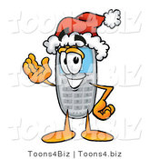 Illustration of a Cartoon Cellphone Mascot Wearing a Santa Hat and Waving by Toons4Biz