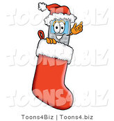 Illustration of a Cartoon Cellphone Mascot Wearing a Santa Hat Inside a Red Christmas Stocking by Toons4Biz