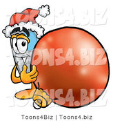 Illustration of a Cartoon Cellphone Mascot Wearing a Santa Hat, Standing with a Christmas Bauble by Toons4Biz