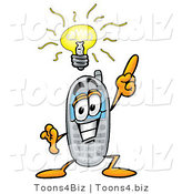 Illustration of a Cartoon Cellphone Mascot with a Bright Idea by Toons4Biz