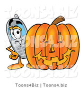 Illustration of a Cartoon Cellphone Mascot with a Carved Halloween Pumpkin by Toons4Biz